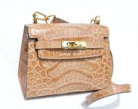 Butterscotch Tan 1990's-2000's HELENE Petite Birkin Style Crocodile Skin Shoulder Bag
