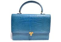 Cerulean BLUE 1990's Hermes Style CROCODILE Porosus Skin Handbag - J. P. RENARD - PARIS
