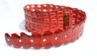 New 2000's Red Massimiliano M. MUSINA Genuine Nile Crocodile Tail Hip Belt - ITALY