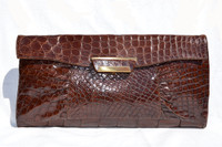 "Lovely XL 15"" 1940's-50's Chocolate DECO Style ALLIGATOR Skin CLUTCH"