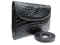 Classic JET BLACK 1980's-1990's ALLIGATOR Belly Skin Clutch Shoulder Bag - Donna Elissa