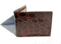 Unused BOXED 1950's-60's Chocolate Alligator Men's Wallet Billfold - DOPP