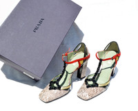 Early 2000's PRADA Whip Snake Skin & Lizard Jeweled T-Strap Heels Shoes - Box - 37.5 / 7.5 - MSRP $560!