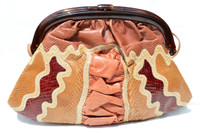 Gorgeous 1970's Karung & Cobra Snake Skin and Lucite Shoulder CROSS BODY Bag - Vasilis for TROTTING
