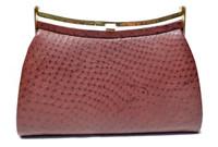 1970's-80's OXBLOOD (Marsala) Red Classic Style Ostrich Skin Clutch Handbag