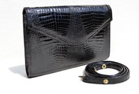 JET BLACK 1980's-1990's Double CROCODILE Belly Skin Clutch Shoulder Bag - KAIYO