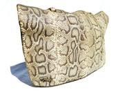 XXL 20 x 16 1980's PYTHON Snake Skin SHOULDER Bag Tote - FANNYBAG - Italy