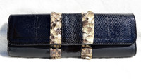 Chic 1990's Ruffled PYTHON Snake Skin & Black Lizard Clutch Shoulder CROSS BODY Bag