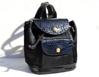 MATTEO & MASSIMO 1980's-90's Jet Black ALLIGATOR Skin & Calf Hair Backpack SATCHEL -Maxima - ITALY