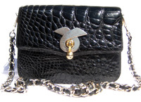 1980's-90's Jet Black ALLIGATOR Belly Skin Shoulder CROSS BODY Bag
