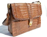 Tan Sand 1990's Crocodile Belly Skin Shoulder Bag - IRV
