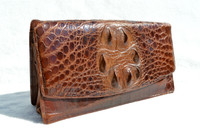 1930's-40's Chocolate Brown HORNBACK Alligator Skin Clutch Bag
