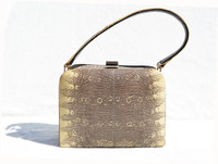 "Classic 1950's-60's ""Exact Match"" REVITS Ring Lizard Skin Handbag"