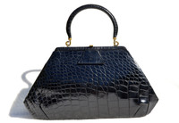 Unique 1950's-60's Jet BLACK Alligator Belly Skin Handbag