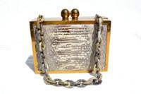 Customized 1950's-60's LIZARD Skin, Metal & Lucite Box Bag