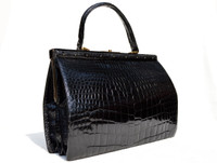 "XL 13"" x 10"" 1960's Jet Black ALLIGATOR Belly Skin Handbag SATCHEL Bag"