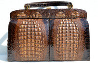 Dramatic XL Chocolate 1980's Double HORNBACK Crocodile Skin SHOULDER Bag - EXKLUSIV