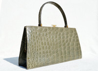 "SAGE GREEEN 13"" 1960's CROCODILE Handbag - Bloomingdales - FRANCE"