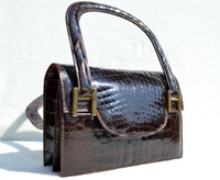 Hermes Style Chocolate Brown 1950's-60's ALLIGATOR Skin Handbag - Unique Shape - LOPEZ - ARGENTINA