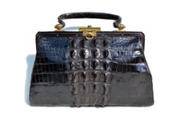 Lovely BLACK 1920's-30's EDWARDIAN Hornback Alligator Handbag