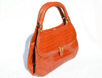 BURNT ORANGE 1950's-60's LUCILLE DE PARIS Alligator Belly Skin Handbag
