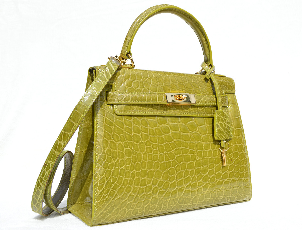 efbd06f9d80e Stunning LIME GREEN ALLIGATOR Belly Skin BIRKIN Bag SATCHEL Shoulder ...