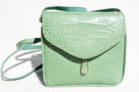 Handmade Seafoam GREEN 1990's-2000's ALLIGATOR Belly Skin Cross Body Bag - ITALY