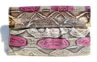 New! Pink, Gray & Cream 1970's PYTHON Snake Skin CLUTCH Bag - SUPREME