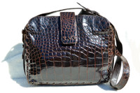 SISO 1990's-2000's Chocolate Brown ALLIGATOR Belly Skin SHOULDER Bag - ITALY