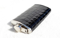 Custom Jet BLACK Alligator Belly Skin 6 Oz. Stainless Hip FLASK - NEW!