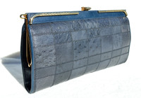Classic 1970's-80's NAVY BLUE Patchwork Ostrich Skin Clutch Shoulder Bag