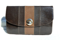Two-Tone BROWN 1950's-60's MARTIN VAN SCHAAK Lizard Skin CLUTCH Cross Body Shoulder Bag