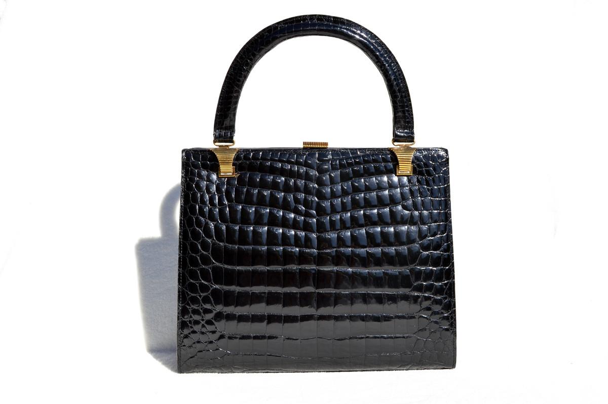 1b54b75622c7 Timeless 1960 s Black CROCODILE Porosus Belly Skin Handbag - GRETA ...