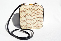 Cream & Black 1980's-1990's Cobra Snake Skin Crossbody Shoulder Bag - COMECO
