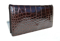 Chic CHOCOLATE BROWN 1980's-1990's ALLIGATOR Belly Skin Clutch Shoulder Bag