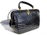 Lovely ROSENFELD 1950's-60's BLACK Alligator Belly Skin Handbag