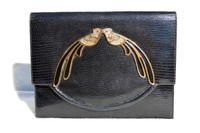 NAVY BLUE 1950's-60's MARTIN VAN SCHAAK Lizard Skin Bag - Jeweled Peacocks