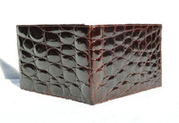 Men's 1990's-2000's Espresso Brown Crocodile Belly Skin Wallet - MISURI - ITALY
