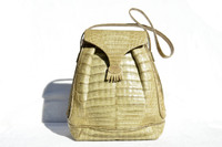 ALFRED ROTH 1980's-90's Sage GREEN CROCODILE Skin Shoulder Bag