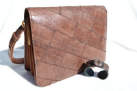 1990's MOCHA Brown FROG Skin Shoulder Bag with Matching Stingray Skin Cuff