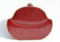 Wine RED WALTER KATTEN 1970's-80's Hard-Sided LIZARD Skin CLUTCH - ITALY!