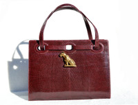 OXBLOOD Red 1960's MARTIN VAN SCHAAK Lizard Skin Handbag - TIGER!