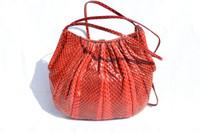 RED 1980's JUDITH LEIBER Cobra Snake Skin Shoulder Bag