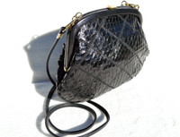 Jet BLACK 1980's QUILTED Cobra Snake Skin Shoulder CROSSBODY Bag
