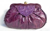 1980's PURPLE Cobra Snake Skin Clutch Shoulder CROSS BODY Bag - Lauren Alexandra