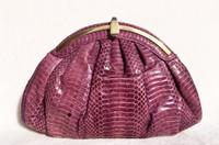 1980's PURPLE COBRA Snake Skin Clutch Shoulder Bag - Helen's Handbags