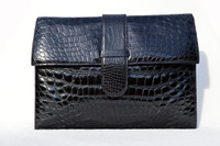 Stunning XL 1990's Jet BLACK CROCODILE Belly Skin CLUTCH Shoulder Bag - SPREAFICO - ITALY