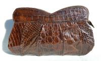 """Lovely 13"""" 1940's-50's Brown ALLIGATOR Skin Clutch Bag"""