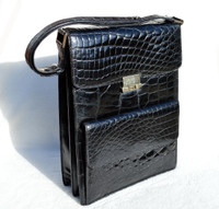 Unisex Jet Black 1980's-90's CROCODILE Skin Messenger Shoulder Bag - FRANCE