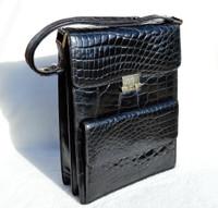 Unisex Jet Black 1980's-90's CROCODILE Skin Messenger Shoulder Bag - FRANCE